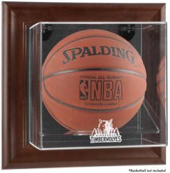 Minnesota Timberwolves Brown Framed Wall-Mounted Team Logo Basketball Display Case