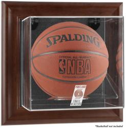 Portland Trail Blazers Brown Framed Wall-Mounted Team Logo Basketball Display Case