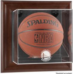 Golden State Warriors Brown Framed Wall-Mounted Team Logo Basketball Display Case - Mounted Memories