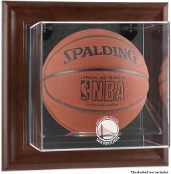 Golden State Warriors Brown Framed Wall-Mounted Team Logo Basketball Display Case