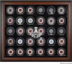 Los Angeles Kings 2014 Stanley Cup Champions Brown Framed 30-Puck Logo Display Case - Mounted Memories