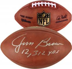 Jim Brown Cleveland Browns Autographed Duke Pro Football with 12312 Yds Inscription - Mounted Memories