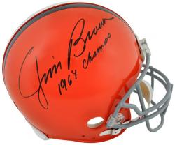 Jim Brown Cleveland Browns Autographed Pro Line Riddell Authentic Helmet with 1964 Champs Inscription - Mounted Memories