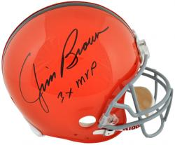 Jim Brown Cleveland Browns Autographed Pro Line Riddell Authentic Helmet with 3x MVP Inscription - Mounted Memories