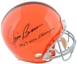 Jim Brown Cleveland Browns Autographed Pro Line Riddell Authentic Helmet with 64 NFL Champs Inscription - Mounted Memories