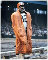 Jim Brown Cleveland Browns Autographed 16'' x 20'' In Raincoat Photograph - Mounted Memories
