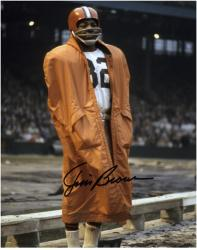 Jim Brown Cleveland Browns Autographed 8'' x 10'' In Raincoat Photograph - Mounted Memories