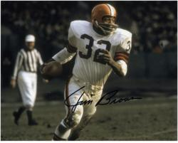 Jim Brown Cleveland Browns Autographed 8'' x 10'' Run with Ball Photograph - Mounted Memories