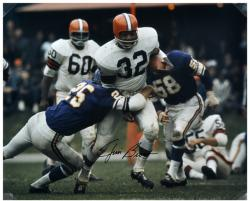 Jim Brown Cleveland Browns Autographed 16'' x 20'' vs Minnesota Vikings Photograph - Mounted Memories