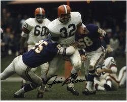 Jim Brown Cleveland Browns Autographed 8'' x 10'' vs Minnesota Vikings Photograph - Mounted Memories