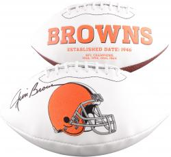 Jim Brown Cleveland Browns Autographed White Panel Logo Football