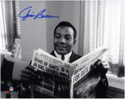 """Jim Brown Cleveland Browns Autographed 8"""" x 10"""" Horizontal Newspaper Photograph"""