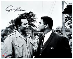 Jim Brown Cleveland Browns Autographed 16'' x 20'' with Muhammad Ali Photograph - Mounted Memories