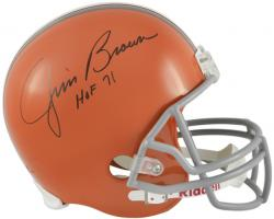 Jim Brown Signed Browns Deluxe Full-Size Replica Helmet w/'HOF'71'