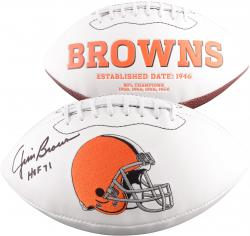 "Jim Brown Autographed Browns Football with ""HOF 71"" Inscription"