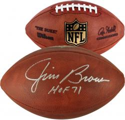 Jim Brown Cleveland Browns Autographed Duke Pro Football with HOF 71 Inscription - Mounted Memories