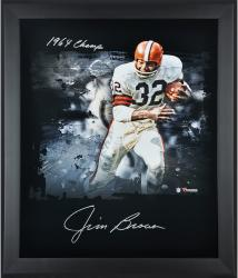 Jim Brown Cleveland Browns Framed Autographed 20'' x 24'' In Focus Photograph with 1964 Champs Inscription - Mounted Memories