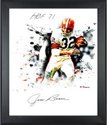 Jim Brown Cleveland Browns Framed Autographed 20'' x 24'' In Focus Photograph with HOF 1971 Inscription - Mounted Memories