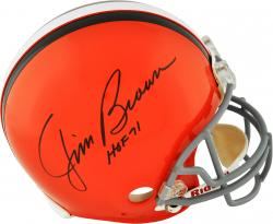 Jim Brown & Paul Warfield Cleveland Browns Autographed Riddell Pro-Line Authentic Helmet with HOF 71 HOF 83 Inscription - Mounted Memories