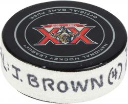 J.T. Brown Tampa Bay Lightning 12/23/13 Game-Used Goal Puck #2 at Florida Panthers - Mounted Memories
