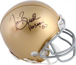 Tim Brown Notre Dame Fighting Irish Autographed Riddell Mini Helmet with Heisman 87 Inscription