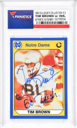 Tim Brown Notre Dame Fighting Irish Autographed 1990 Collegiate Collection #2 Card with Go Irish Inscription