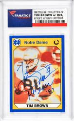 Tim Brown Notre Dame Fighting Irish Autographed 1990 Collegiate Collection #2 Card with Heisman 87 Inscription