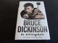 Bruce Dickinson Iron Maiden Signed Autographed Button HB Book Beckett Certified