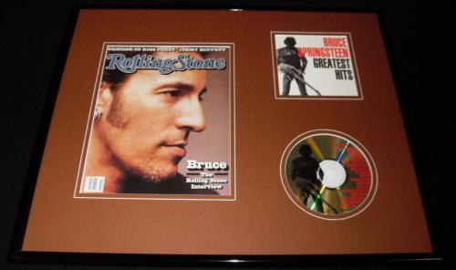 Bruce Springsteen 16x20 Framed Rolling Stone Cover & Greatest Hits CD Display