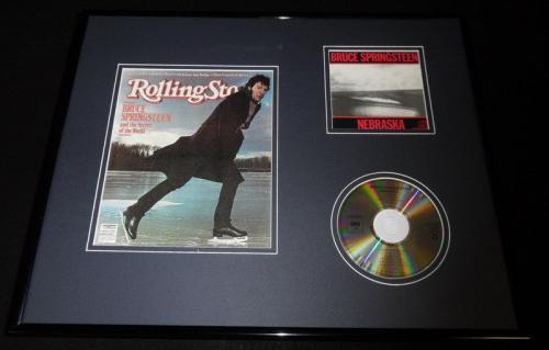 Bruce Springsteen 16x20 Framed Rolling Stone Cover & Nebraska CD Display