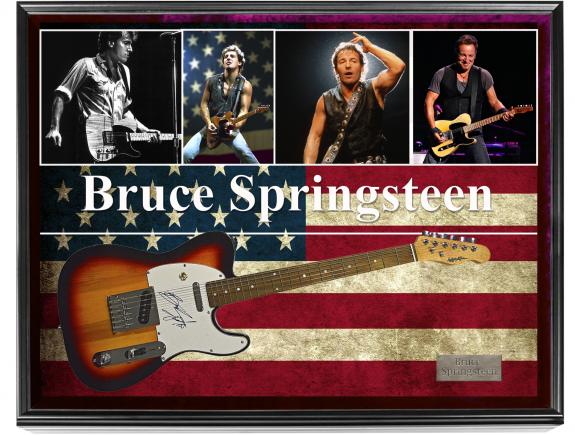 Bruce Springsteen Autographed Guitar in Custom Display Case