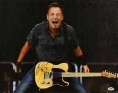 """Bruce Springsteen Autographed Holding Guitar and Screaming with Black Background 16"""" x 20"""" Canvas - PSA/DNA LOA"""