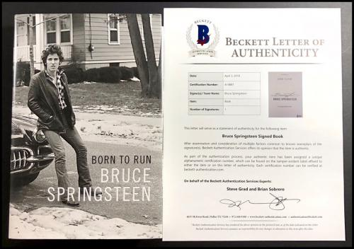 Bruce Springsteen Autographed Signed Born To Run Book Beckett Coa Loa