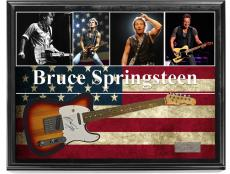 Bruce Springsteen Autographed Sunburst Tele Style Guitar w Display Case UACC RD