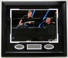 Bruce Springsteen & Billy Joel Framed Photo + Engraved Autos