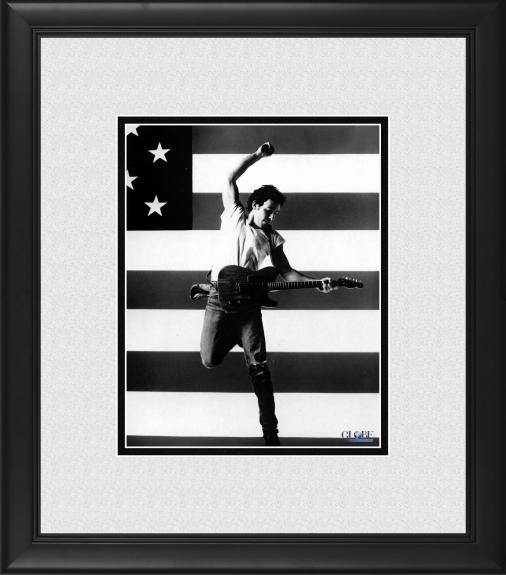 """Bruce Springsteen Framed 8"""" x 10"""" in Front of American Flag Photograph"""
