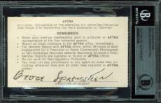 Bruce Springsteen Signed 2.75x3.75 AFTRA Union Membership Card BAS Slabbed