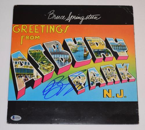 Bruce Springsteen Signed GREETINGS FROM ASBURY PARK Vinyl Record Album BAS COA
