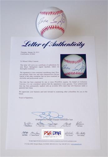 Bruce Springsteen Signed Major League Baseball Psa Loa S10442