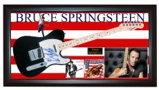 Bruce Springsteen w Sketch Signed Fender Tele Guitar + Display PSA/DNA LOA