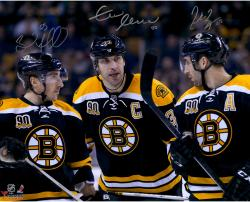 "Zdeno Chara, Brad Marchand, & Patrice Bergeron Boston Bruins Autographed 16"" x 20"" Photograph"