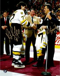 Ray Bourque & Phil Esposito Boston Bruins Dual Autographed 11'' x 14'' Number Retiring Photograph - Mounted Memories