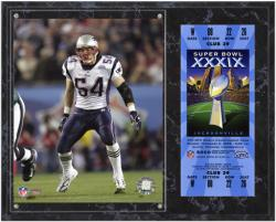 New England Patriots Super Bowl XXXIX Tedy Bruschi Plaque with Replica Ticket