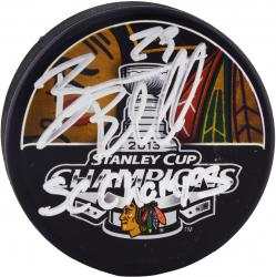 Bryan Bickell Chicago Blackhawks 2013 Stanley Cup Champions Autographed Stanley Cup Logo Puck with 2013 SC Champs Inscription - Mounted Memories