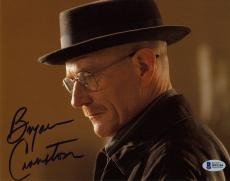 """Bryan Cranston Autographed 8"""" x 10"""" Breaking Bad Up Close With Hat on Side View Photograph - Beckett COA"""