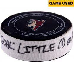 Bryan Little Winnipeg Jets 10/9/2014 Game-Used Goal Puck vs. Arizona Coyotes - Goal One Of Two Scored