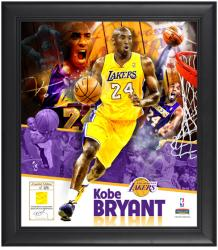 "Kobe Bryant Los Angeles Lakers Framed 15"" x 17"" Collage with Game-Used Jersey-Limited Edition of 524 - Mounted Memories"