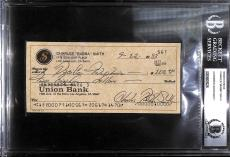 Bubba Smith Signed Personal Check BAS Beckett COA Colts Police Academy Autograph