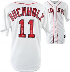 Clay Buchholz Boston Red Sox Autographed Jersey with Boston Strong No Hitter WS Champ 07 Inscription