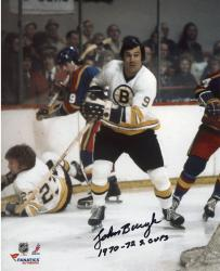 John Bucyk Boston Bruins Autographed 8'' x 10'' White Skate Photograph with 1970-72 SC Champs Inscription